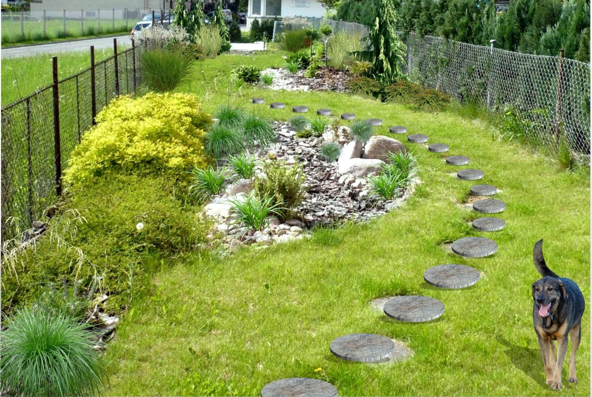 Úzká zahrada s trávami-oř.